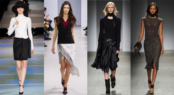 Модные юбки с запахом зима 2014-2015