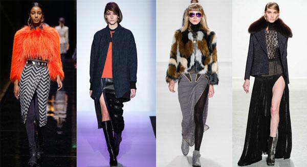 Модные юбки с разрезами зима 2014-2015