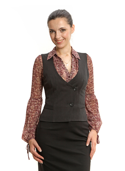Женский жилет и юбка шоколадного цвета