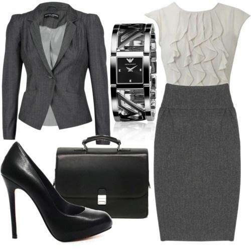 Женский офисный костюм тёмно-серый