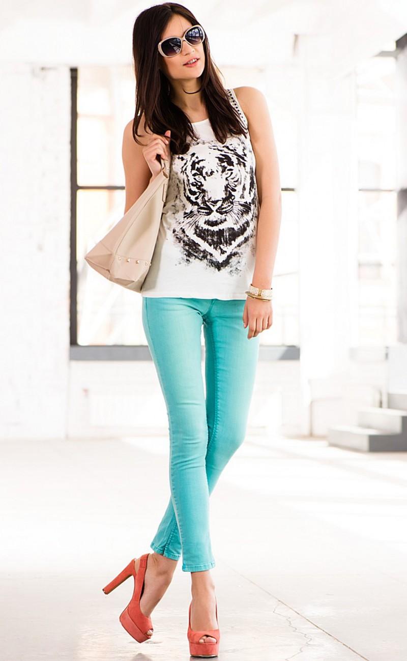 Женские брюки бирюзовые