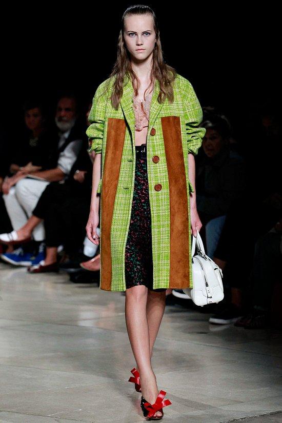 Пальто светло-зелёное с белой полоской