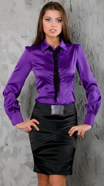Блузка женская деловой стиль сиреневая