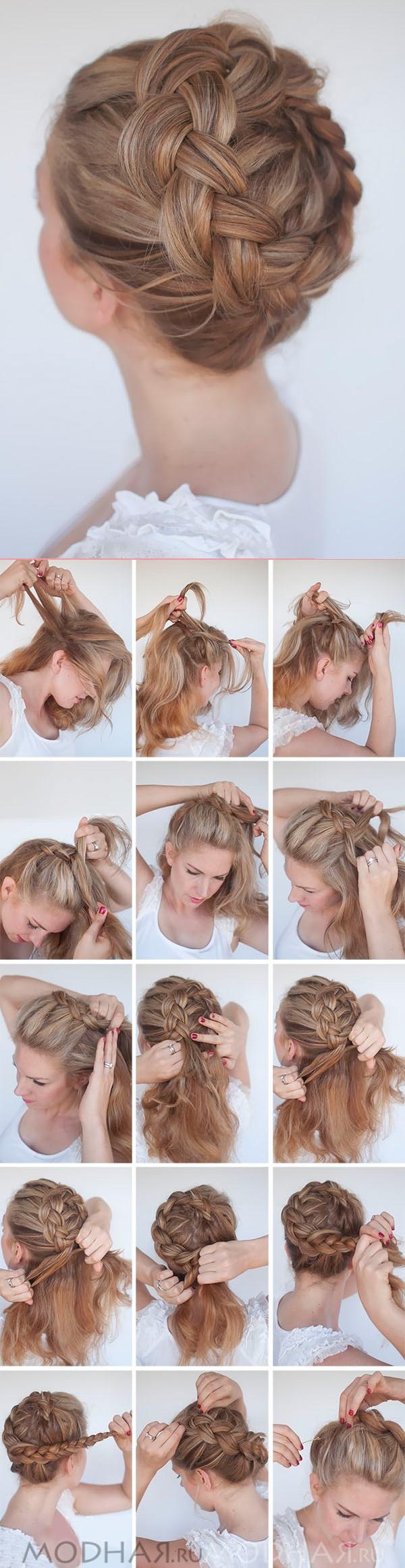 Причёски-косы своими руками на средние волосы фото