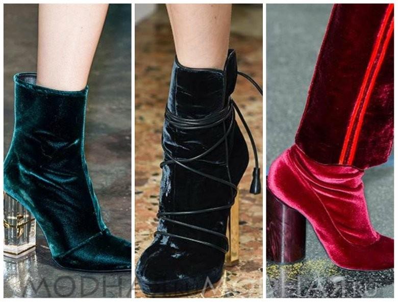 Модная обувь 2016 весна для женщин фото сапоги из вельвета