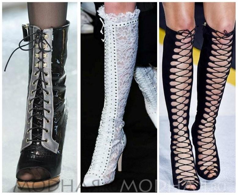 Модная обувь 2016 весна для женщин фото сапоги с кружевом