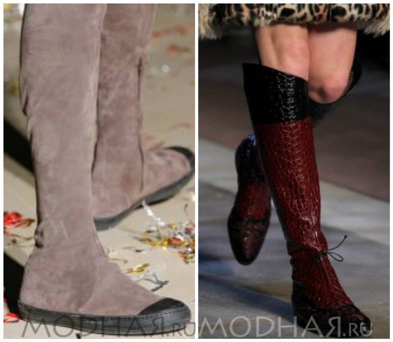 Модная женская обувь сапоги без каблука