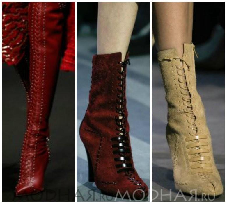 Модная женская обувь со шнуровкой