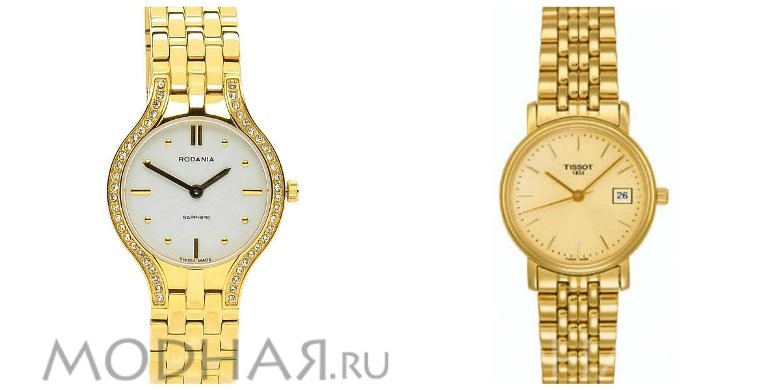 Модные женские золотые часы