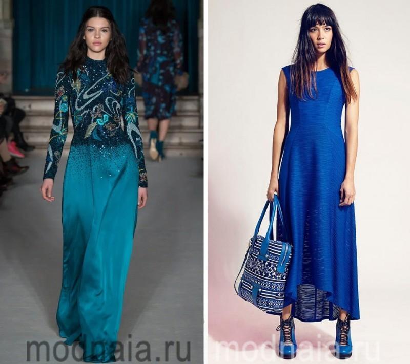 вечернее синие платье в пол