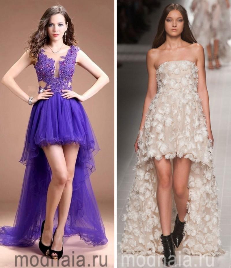 вечернее платье, длинное сзади