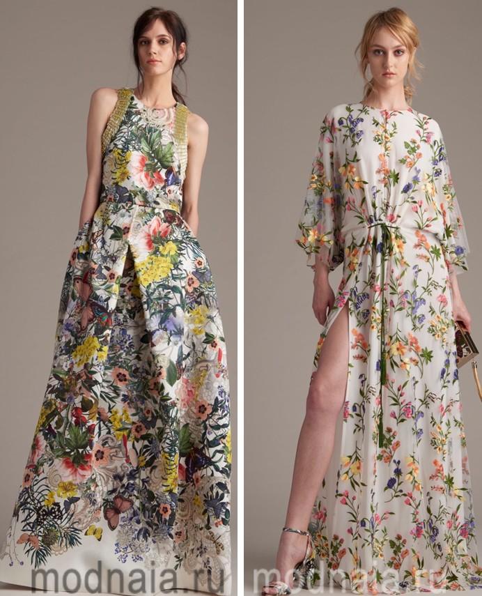 Длинные платья в пол цветные
