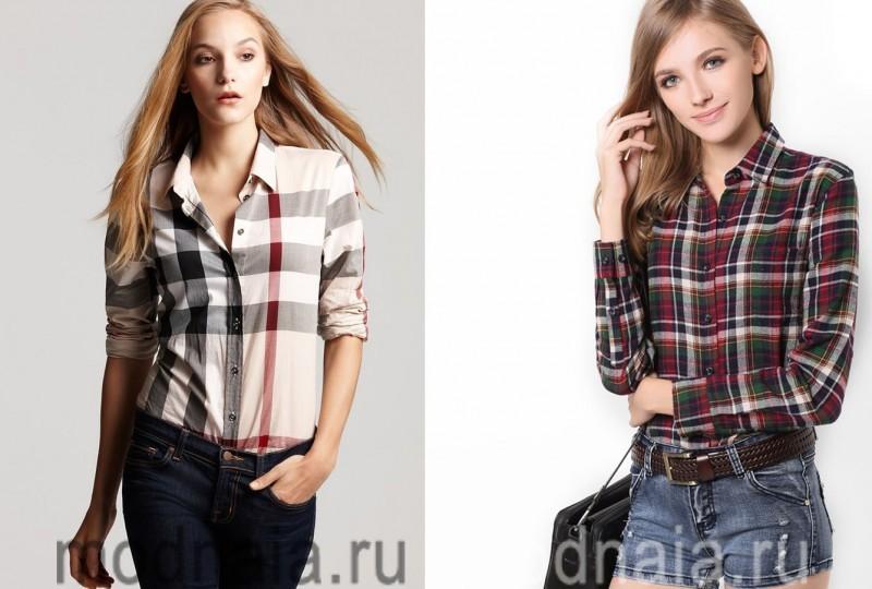 женские рубашки в клетку фото