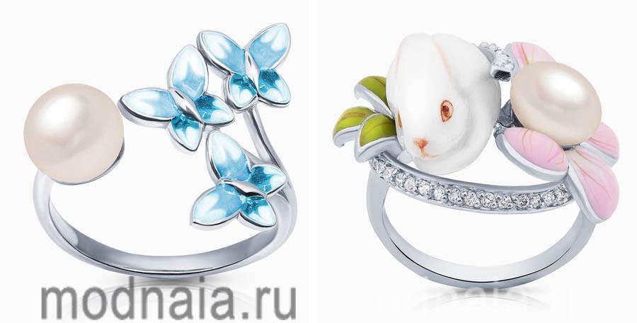 Ювелирные украшения. Модные тенденции нового сезона на серебряные кольца с жемчугом