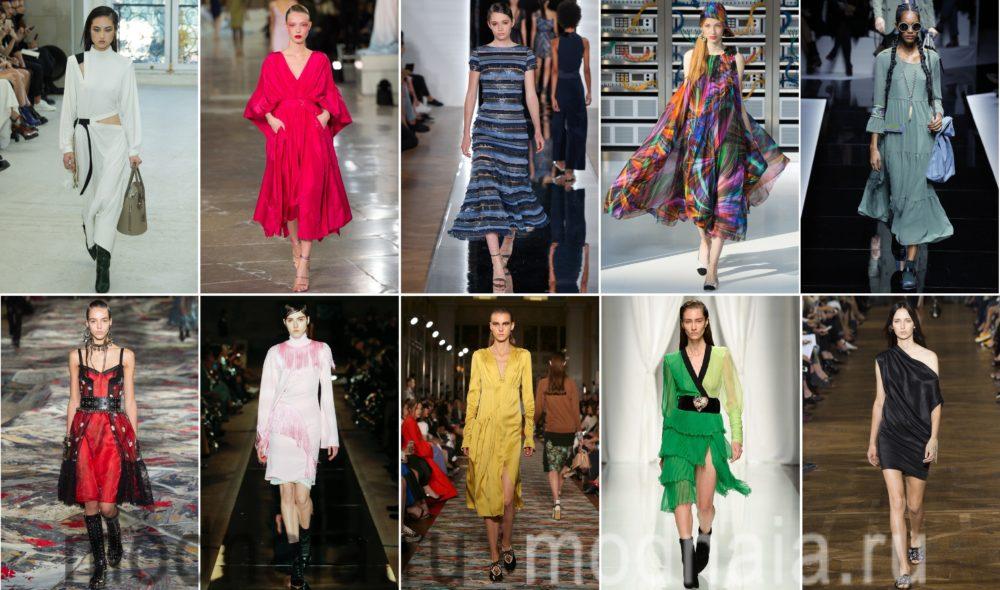 10 трендов модных платьев в 2017; 100 ТОП-фото новинок с модных показов