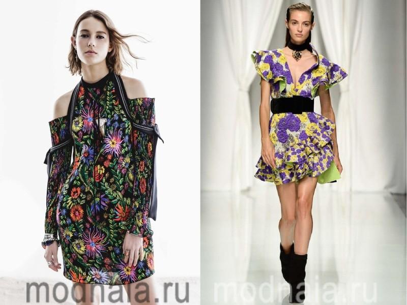 Модные короткие платья 2017 с цветами