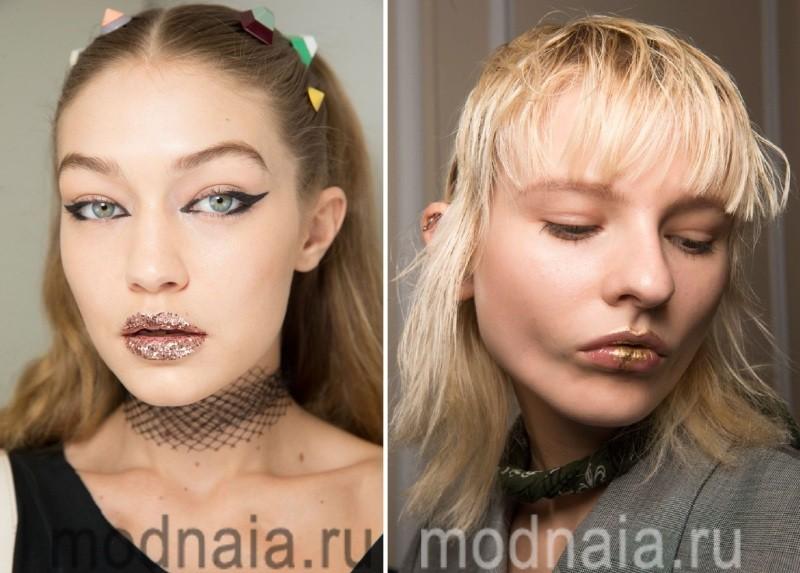 Помада оттенка металлик в макияже 2017