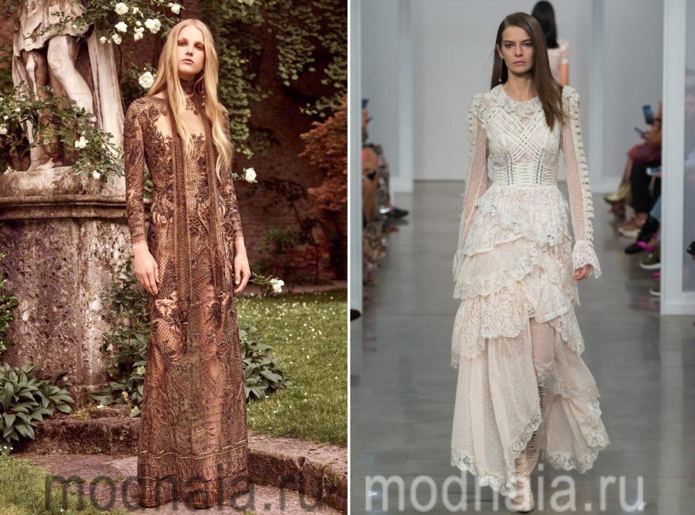 Платья с кружевом из последних модных показов