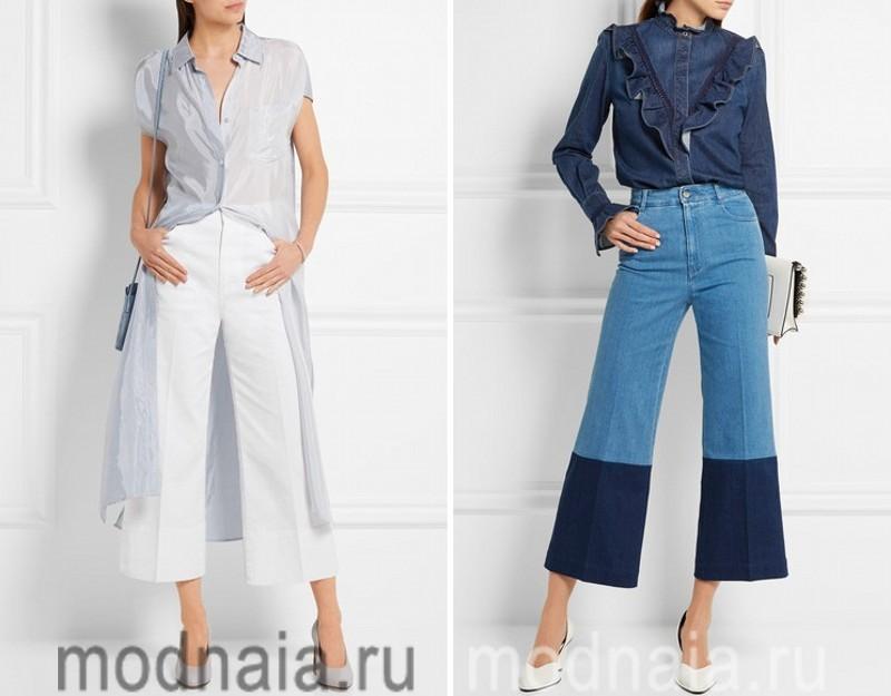 Укороченые джинсы клеш 2017