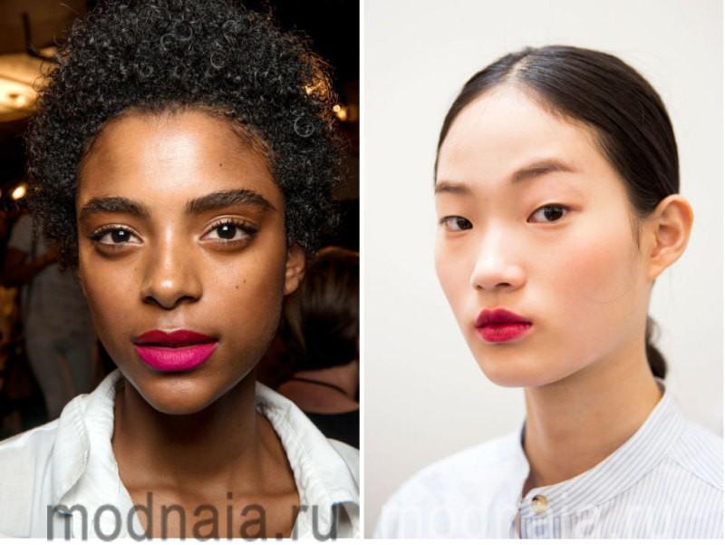 модный макияж весна лето 2017 - естественный образ с более яркими губами