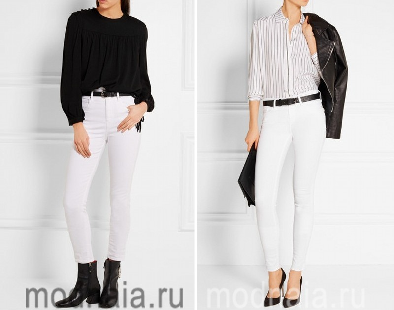 Белые джинсы слим 2017