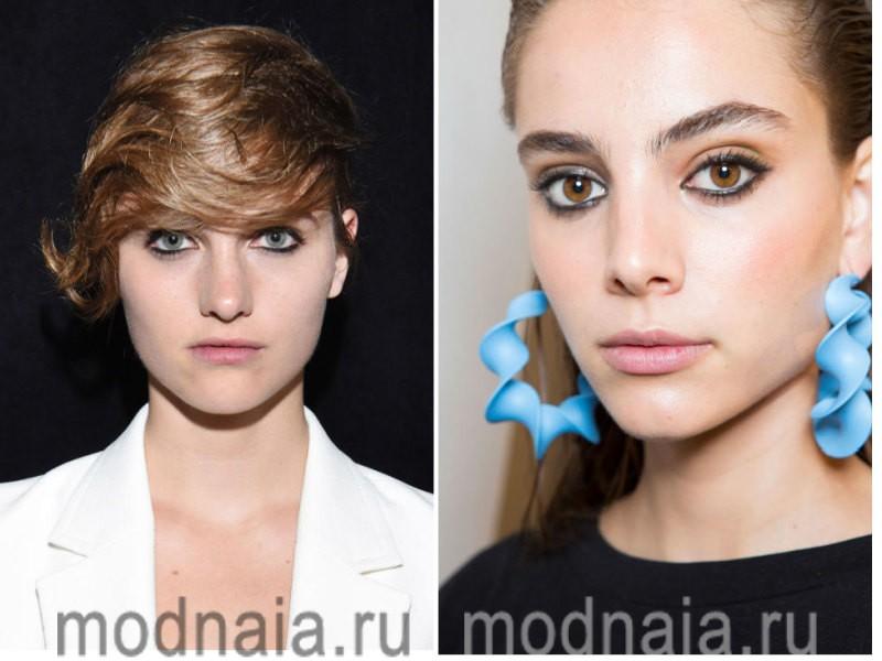 модный макияж весна лето 2017 - подведенные черным глаза