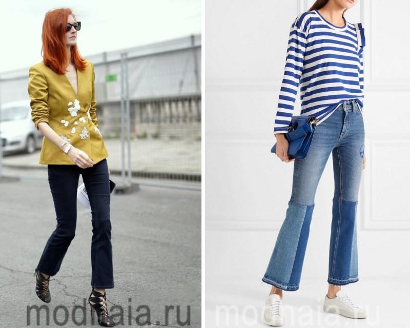 Укороченные джинсы клеш 2017
