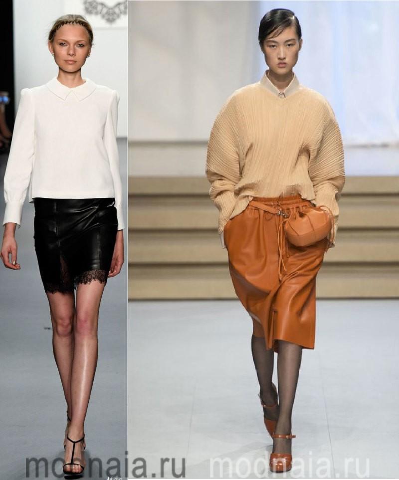 Юбки 2017 года - сочетания с кожаными моделями