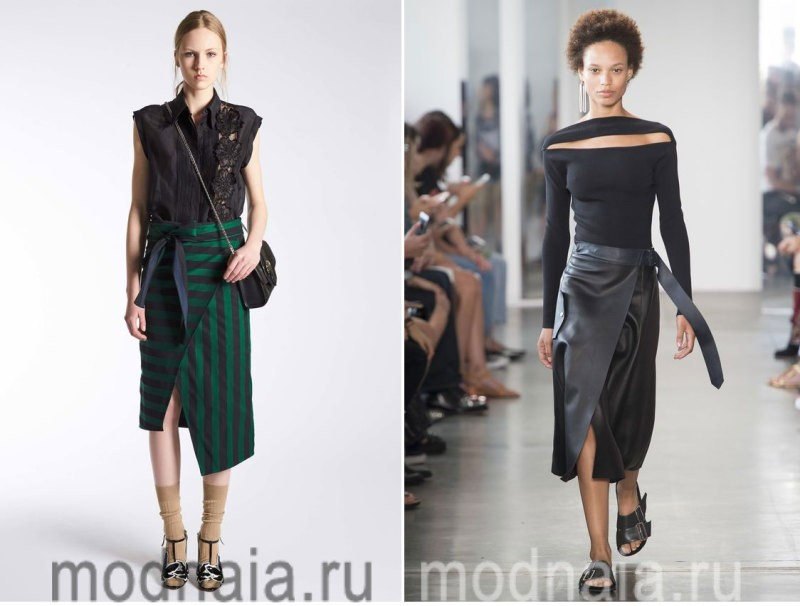 Модные юбки 2017 года - модели с запахом