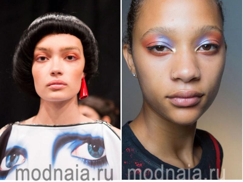 модный макияж весна лето 2017 - необычные варианты с яркими тенями