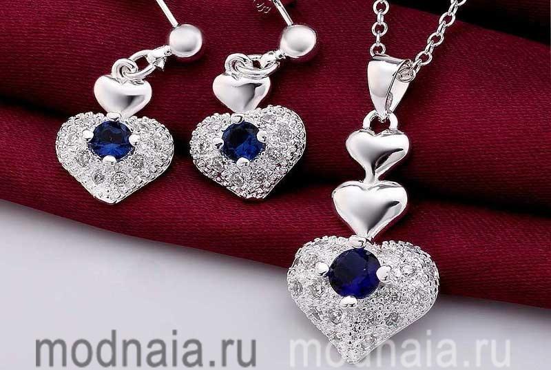Серебряные украшения с камнями и кристаллами сваровски
