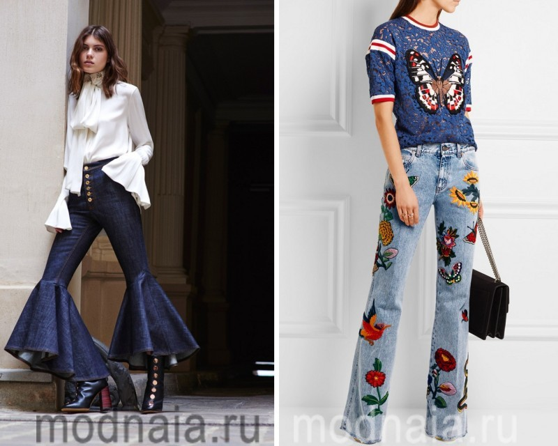 Модные луки с джинсами  2017клеш