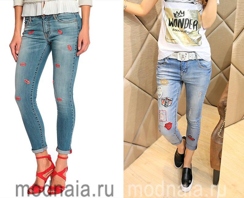 Модные юмористические джинсы сезона  весна 2017,  женские фото моделей