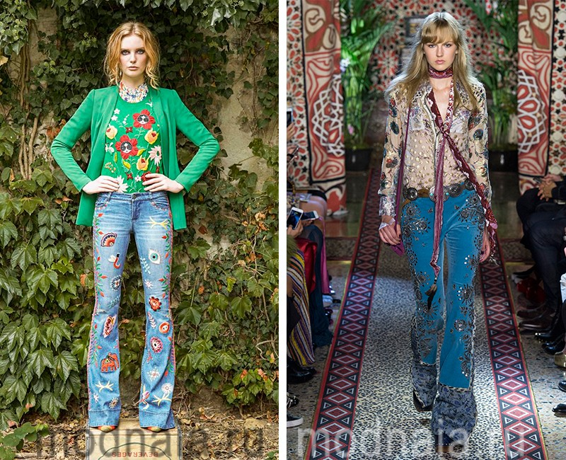 Новая мода: джинсы весна лето 2017 с необычным печворком и блестящими аппликациями