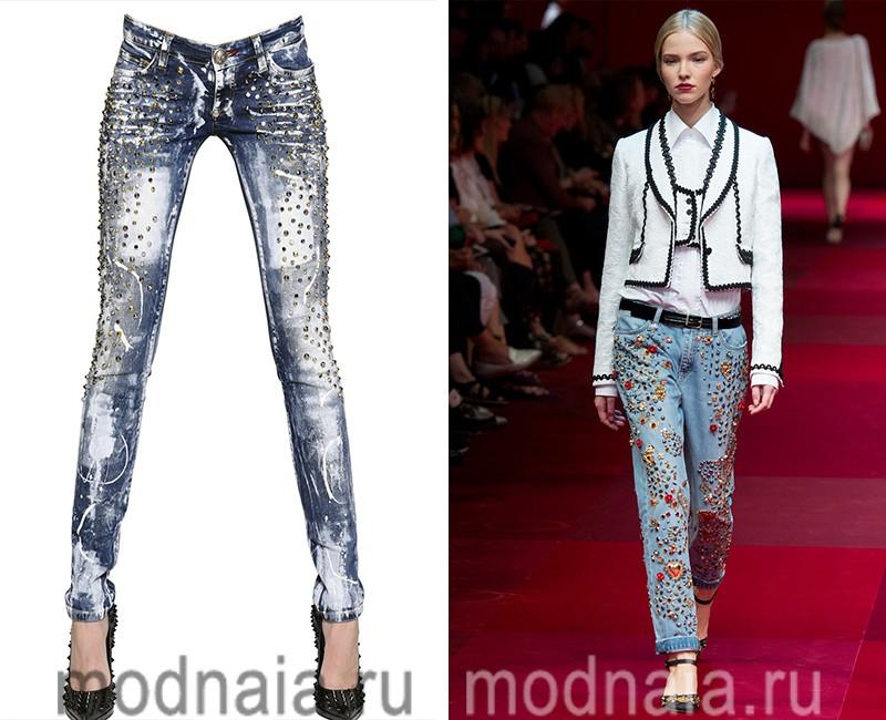модные джинсы с заклепками весна лето 2017