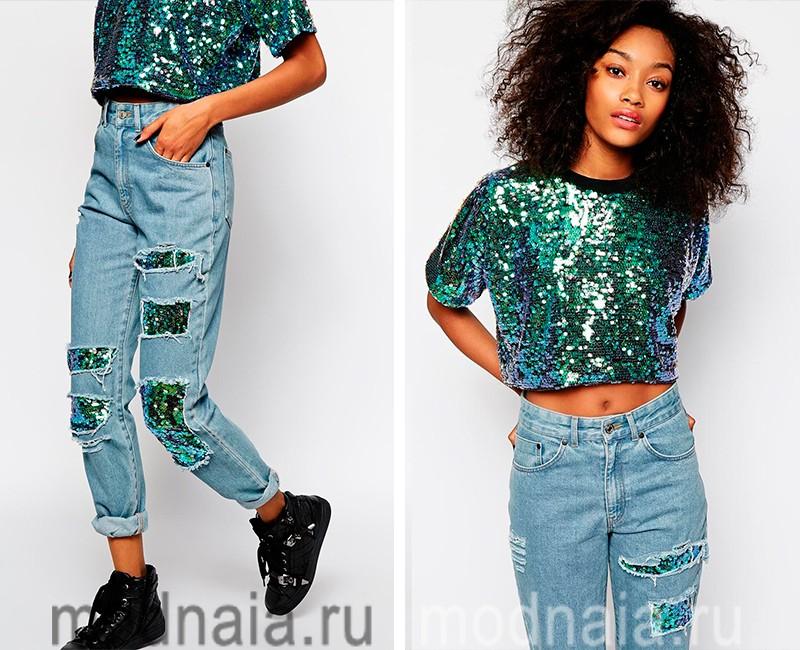 модные джинсы с паетками весна лето 2017