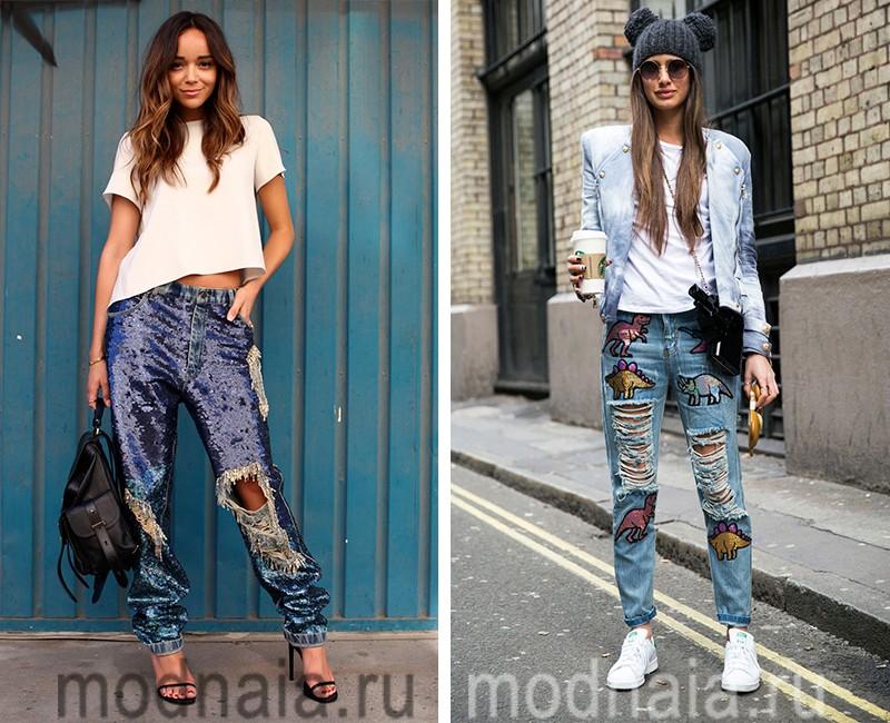модные джинсы весна лето 2017  с паетками