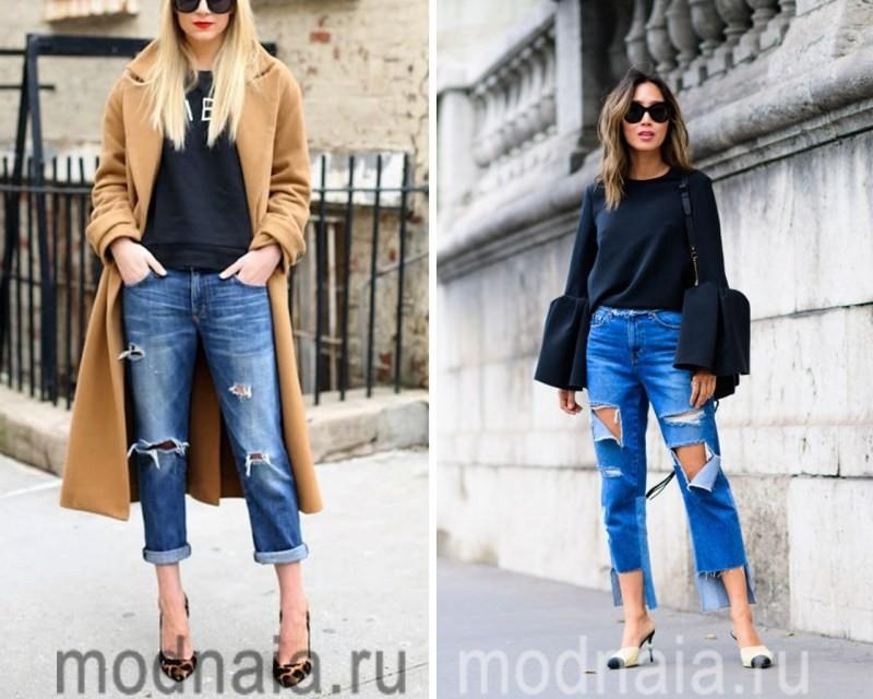 Укороченные рваные джинсы 2017
