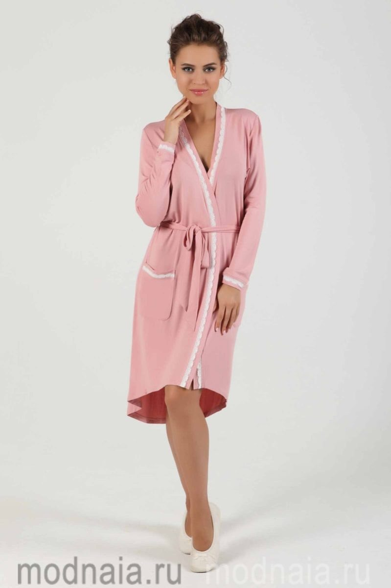 модный трикотажный халат