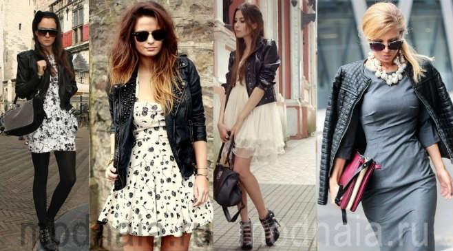 Платье с кожаной курткой: стильные образы